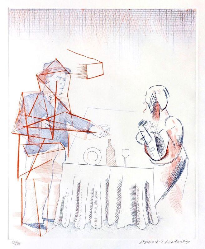 David Hockney, ''Figures with Still Life'', 1976-77, Print, Hardground, Softground & Drypoint, Mr & Mrs Clark's