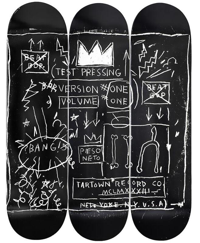 Jean-Michel Basquiat, 'Basquiat Beat Bop Skateboard Decks (set of 3)', 2020, Ephemera or Merchandise, Maple Wood with bonded Epoxy Resin, Lot 180