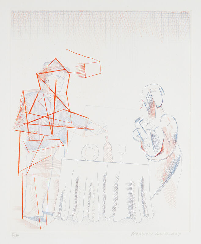 David Hockney, 'Figures with Still Life, from The Blue Guitar (S.A.C. 208, M.C.A.T. 187)', 1976-1977, Print, Etching and drypoint in colors, on Inveresk paper, with full margins., Phillips