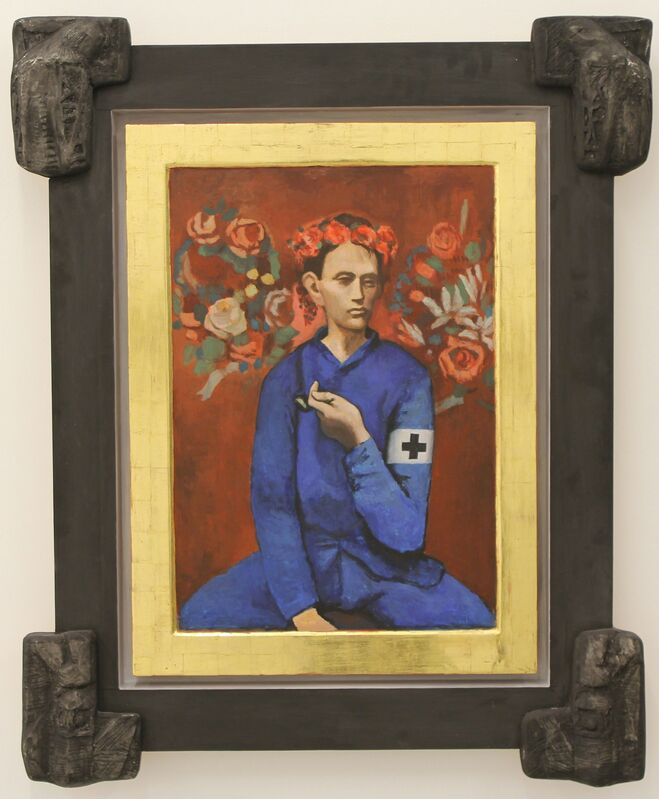 IRWIN, 'The-most-wanted icon : $ 131,1 milions', 2014, Painting, Egg tempera, gold leaves on wood, Galerija Gregor Podnar