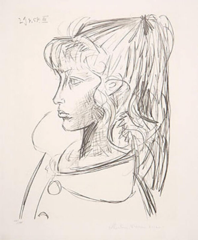 Pablo Picasso, 'Sylvette de Profil Gauche', 1954, Drawing, Collage or other Work on Paper, Lithograph on Arches Paper, Level1 Gallery