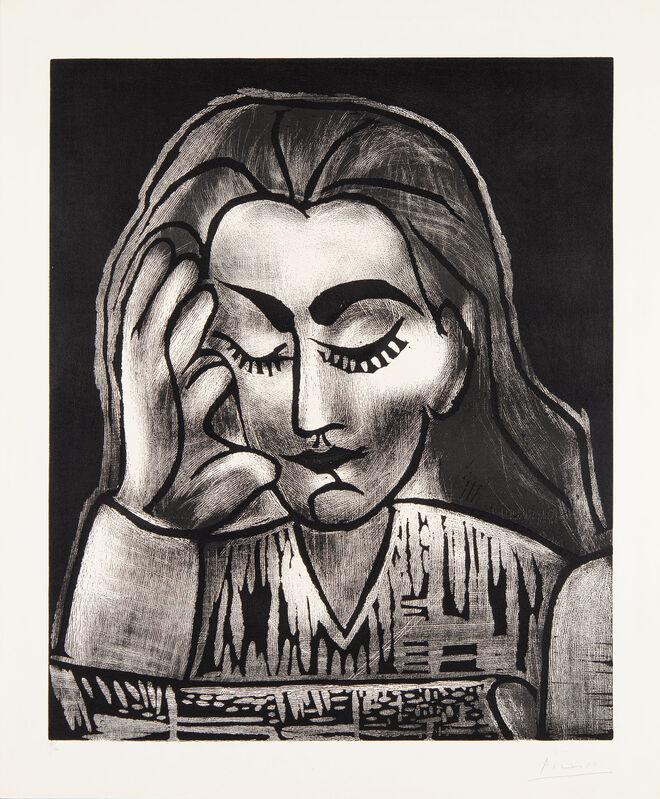 Pablo Picasso, 'Jacqueline Reading', 1964, Print, Linocut, Christopher-Clark Fine Art