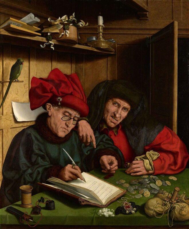 Follower of Marinus van Reymerswaele, 'The Misers', 1548-1551, Painting, Oil on panel, Royal Collection Trust