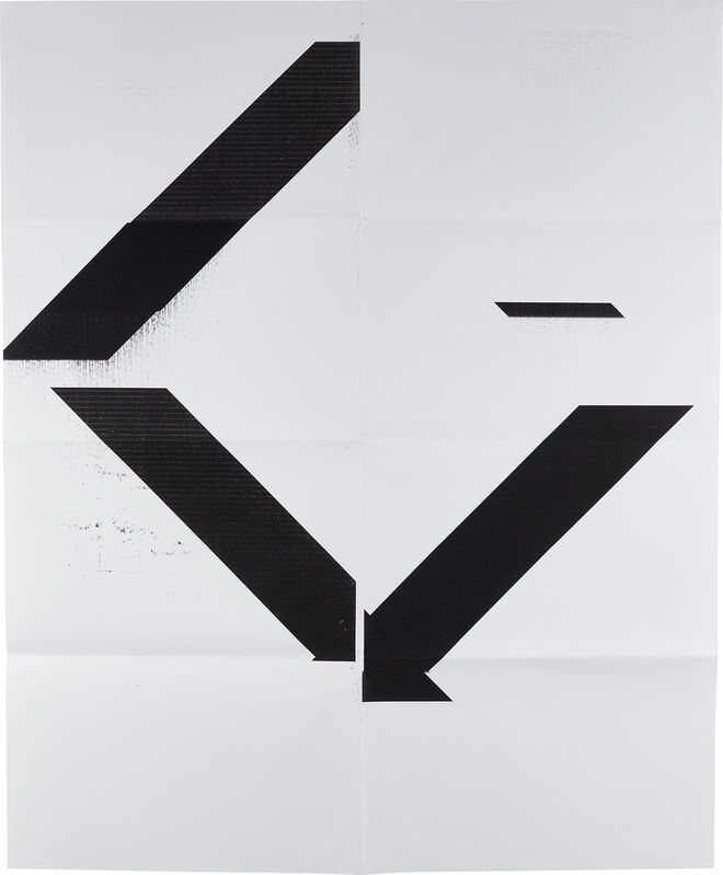 Wade Guyton, 'X Poster (Untitled, 2007, Epson UltraChrome inkjet on linen, 84 x 69 inches, WG1208)', 2017, Posters, Monumental digital print with archival UV curable inks, on wove paper, the full sheet, hand-folded (as issued) contained in the original white cardboard sleeve., Phillips