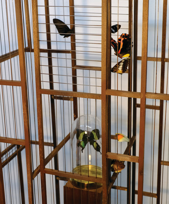 Artemis Potamianou, 'Which side are you on? Soul', 2018, Sculpture, Wood and metal birdcage and appropriated object(s), IFAC Arts