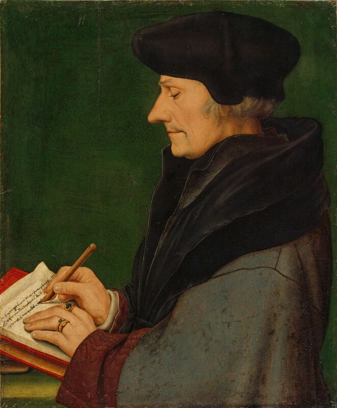 Hans Holbein the Younger, 'Portrait of Erasmus of Rotterdam Writing', 1523, Mixed Media, Mixed media on paper mounted on fir, Kunstmuseum Basel