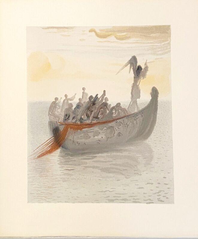 Salvador Dalí, 'La Divine Comédie - Purgatoire 02 - La barque du Nocher', 1963, Print, Original wood engraving on BFK Rives paper, Samhart Gallery