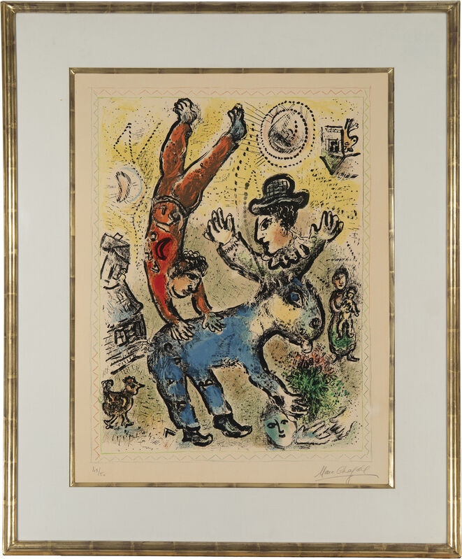 Marc Chagall, 'The Red Acrobat', 1974, Print, Lithograph in colors on Arches wove paper under glass, John Moran Auctioneers