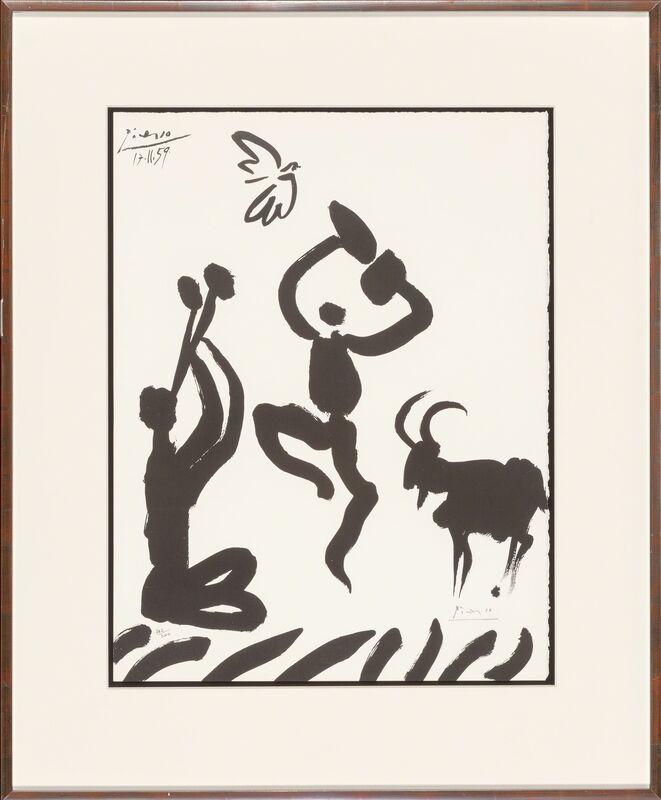 Pablo Picasso, 'Musicien, danseur, chèvre et oiseau', 1959, Print, Lithograph on wove paper, Heritage Auctions