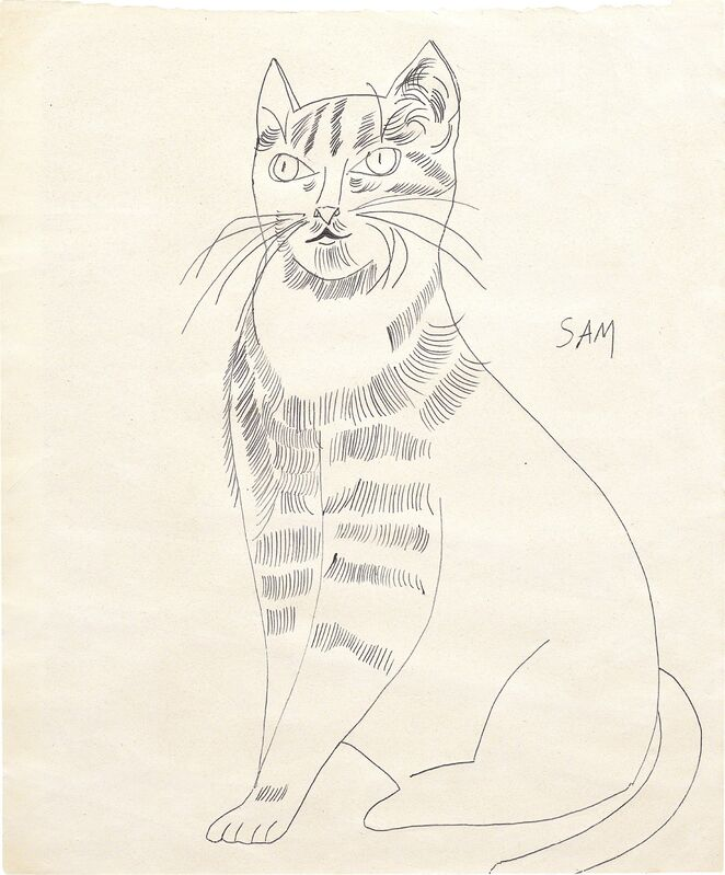 Andy Warhol, 'Sam (seated with long hair)', ca.1954, Drawing, Collage or other Work on Paper, Ball-point pen on paper, Phillips