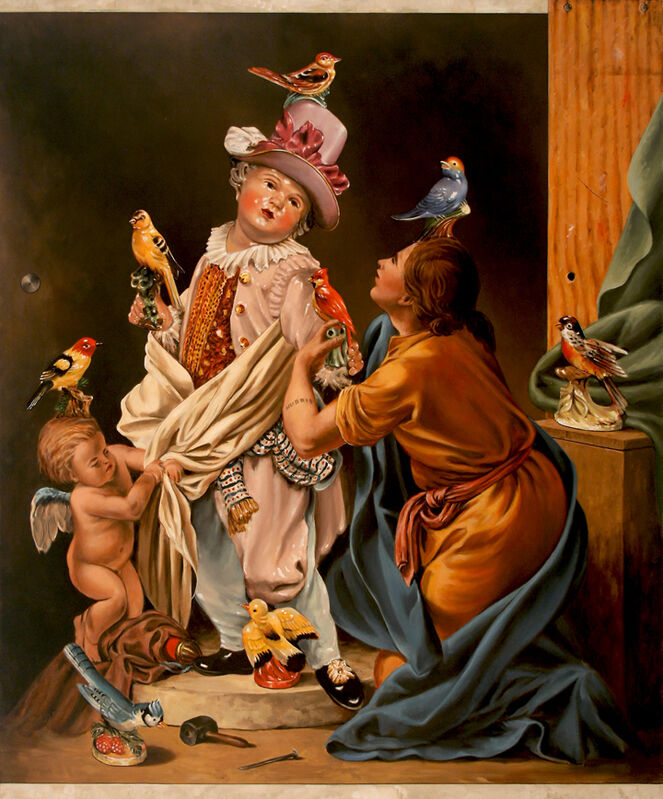 Jerry Kunkel, 'Pygmalion and Bird Figurine Guy', Painting, Oil on Canvas, Robischon Gallery