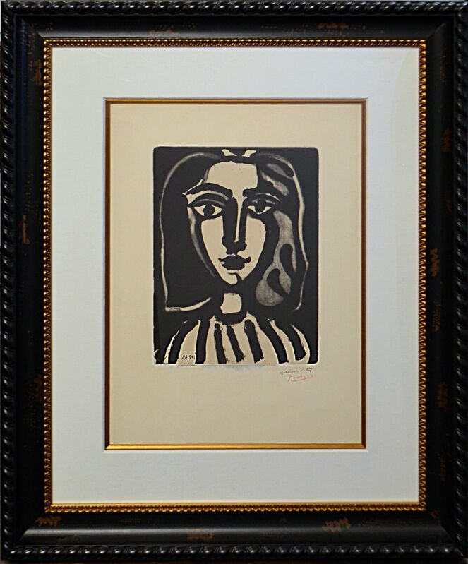 Pablo Picasso, 'Jeune Femme ( B. 1836; M. 153; R. 457)', 1949, Print, Lithograph in black on Chine appliqué over Arches wove paper., Off The Wall Gallery