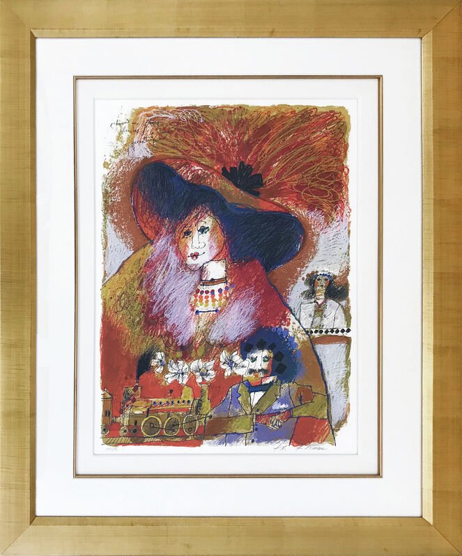 Theo Tobiasse, 'L'HOMME AUX FLEURES BLANCHES ET LA DAME EXCENTRIQUE', ca. 1990, Print, LITHOGRAPH, Gallery Art