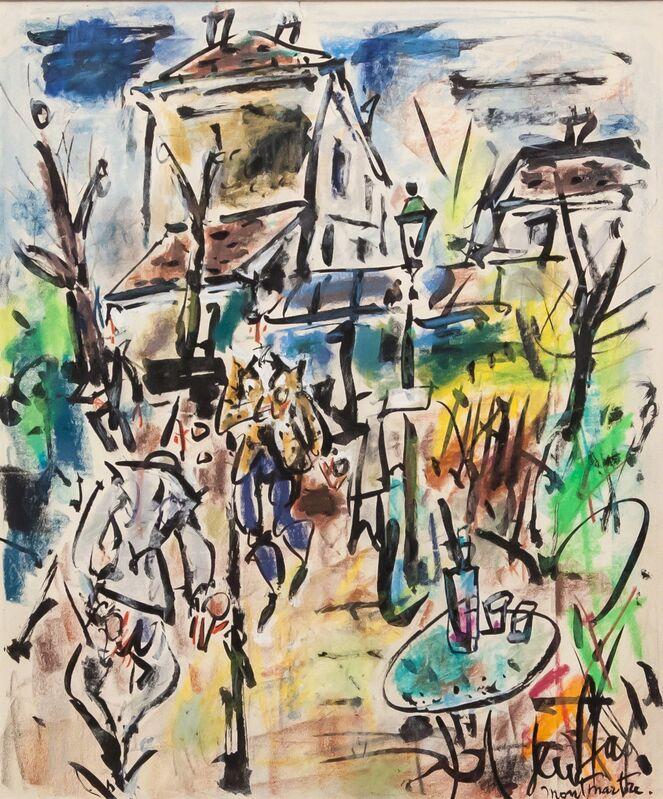 Gen Paul, 'Jeux de boules à Montmartre', ca. 1965, Drawing, Collage or other Work on Paper, Neocolor on paper, Artrust