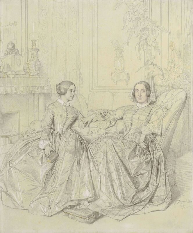 Jean-Auguste-Dominique Ingres, 'Comtesse Charles d'Agoult, née Marie d'Agoult, and her daughter Claire d'Agoult', 1849, Drawing, Collage or other Work on Paper, Pencil heightened with white and touches of yellow watercolor, Christie's Old Masters