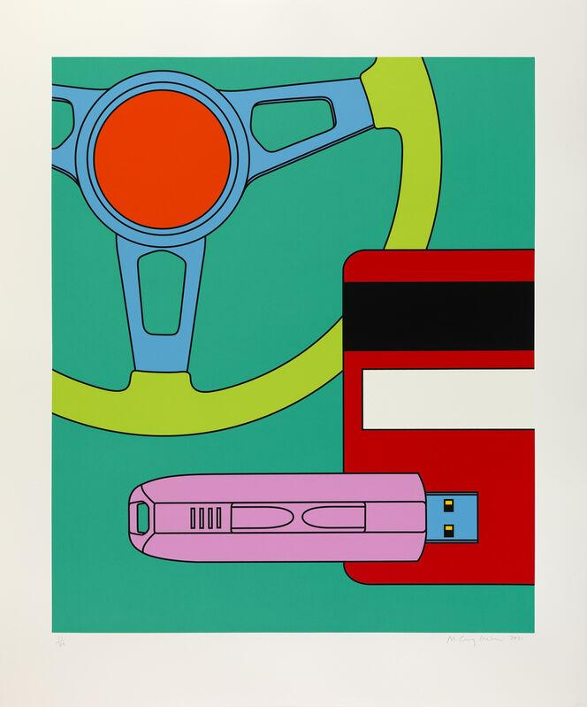 Michael Craig-Martin, 'Steering Wheel', 2021, Print, From a series of three screenprints on Somerset Satin 410 gsm paper, Cristea Roberts Gallery
