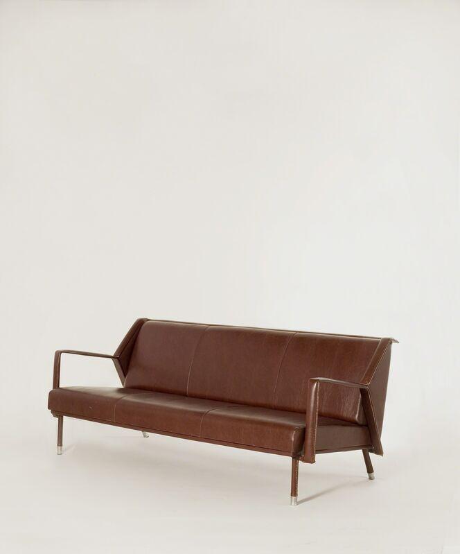 Jacques Quinet, 'Sofa', ca. 1960, Design/Decorative Art, Original saddle-stitched leatherette with chrome sabots, Maison Gerard
