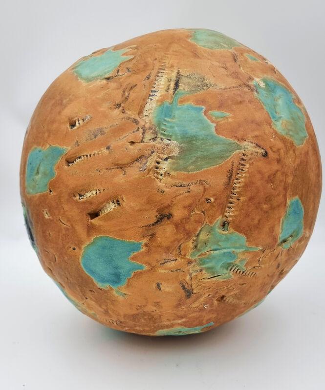 Carol Fleming, 'Untitled Sphere (Brown, teal)', 2020, Sculpture, Ceramic, glaze, Cerbera Gallery