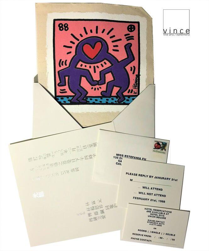 "Keith Haring, '""Dr. Winkies Wedding Invitation"", 1988, SILKSCREEN on CANVAS, with Original RSVP Invite ', 1988, Print, Silkscreen on Canvas, VINCE fine arts/ephemera"
