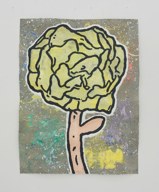 Donald Baechler, 'Violet Rose', 2015, Drawing, Collage or other Work on Paper, Gesso, flashe and paper collage on paper, The Hole