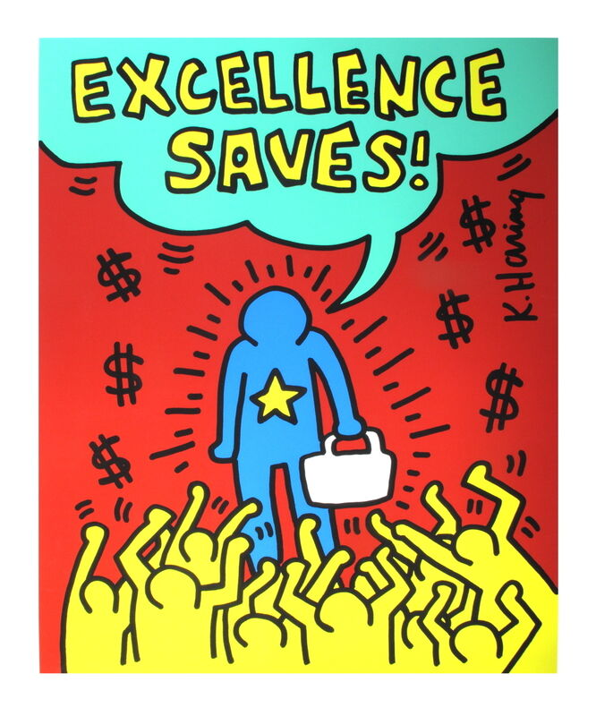 Keith Haring, 'Excellence Saves', 1990, Print, Serigraph, ArtWise