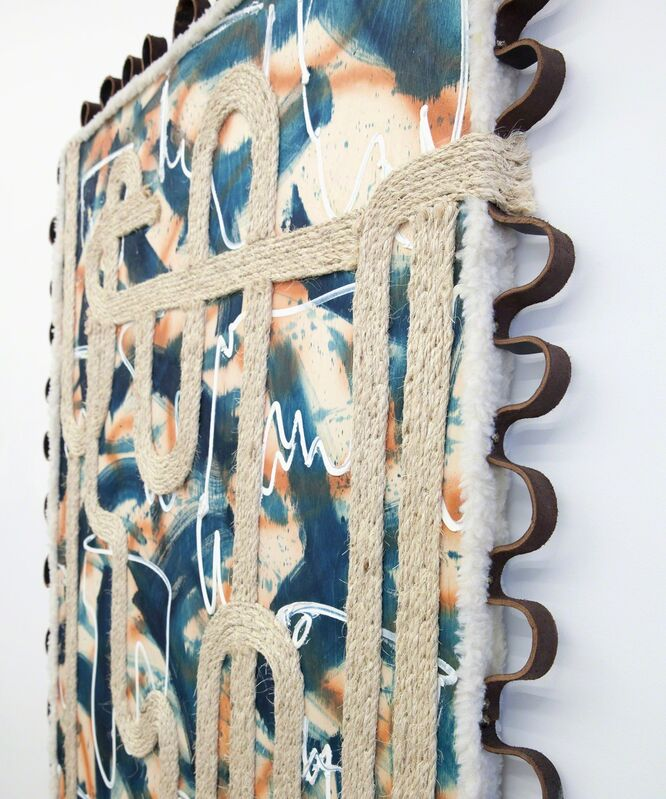 Easton Miller, 'So Rugged', 2015, Painting, Acrylic paint, faux shearling, indigo dye, leather natural fiber rope, oil paint, and upholstery tacks on birch panel, River