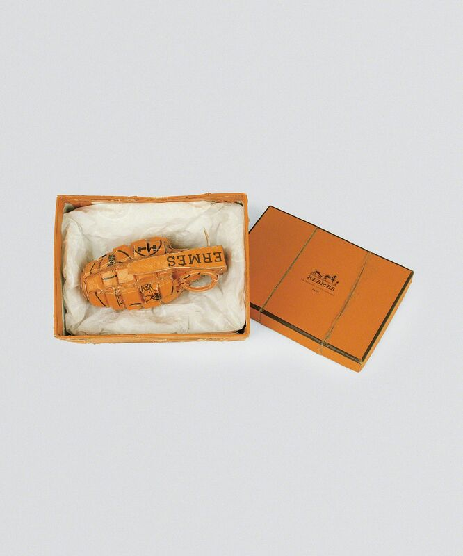 Tom Sachs, 'HG (Hermés Hand Grenade)', 1995, Sculpture, Ink and thermal adhesive on cardboard, Gagosian