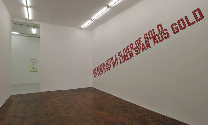 Lawrence Weiner MADE DONE WITH A PINCH OF SALT, installation view