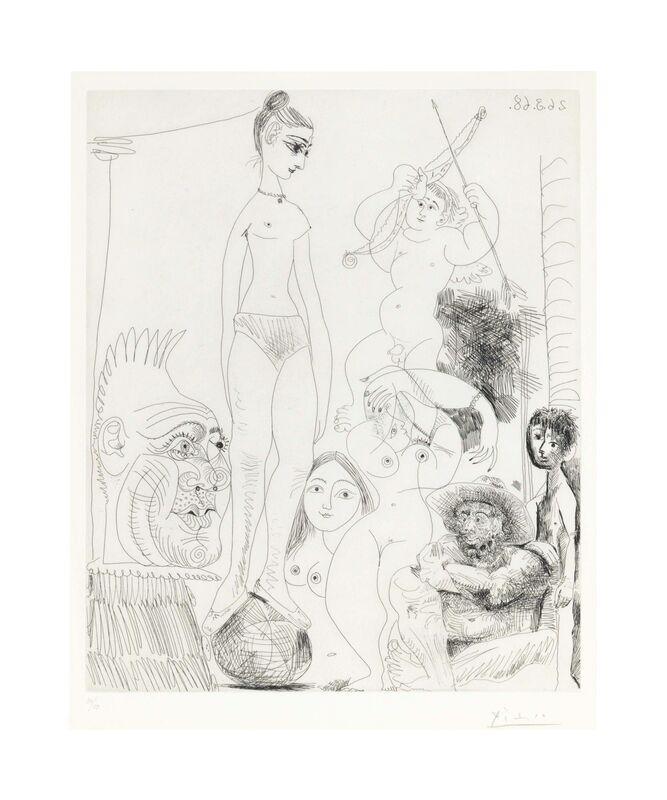 Pablo Picasso, 'Autoportrait transposé et déboublé rêvant au cirque, avec Jacqueline en acrobate à la boule, from La Série 347', 1968, Print, Etching on Rives BFK paper, Christie's