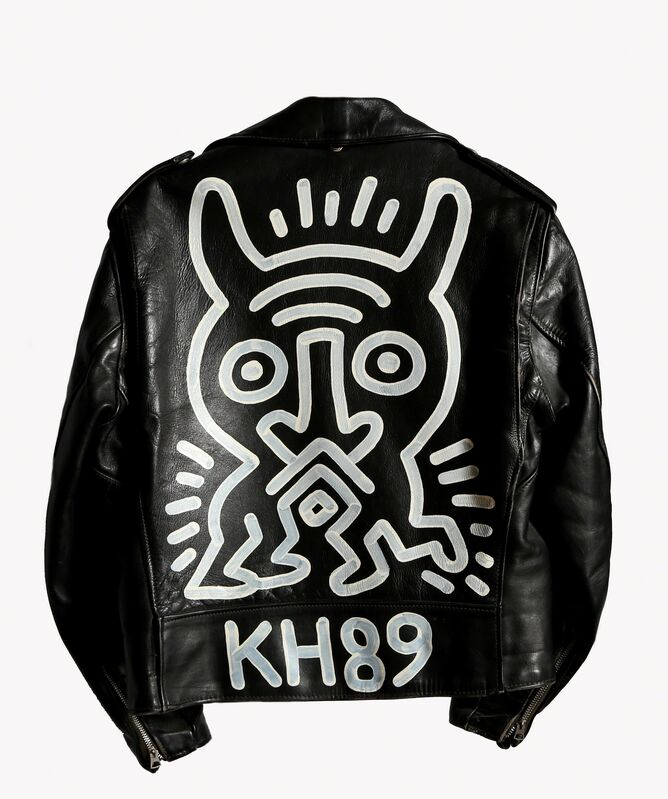 Keith Haring, 'Schott Motorcycle Jacket Painting', 1989, Painting, Painted Leather Jacket - Size 42, RoGallery