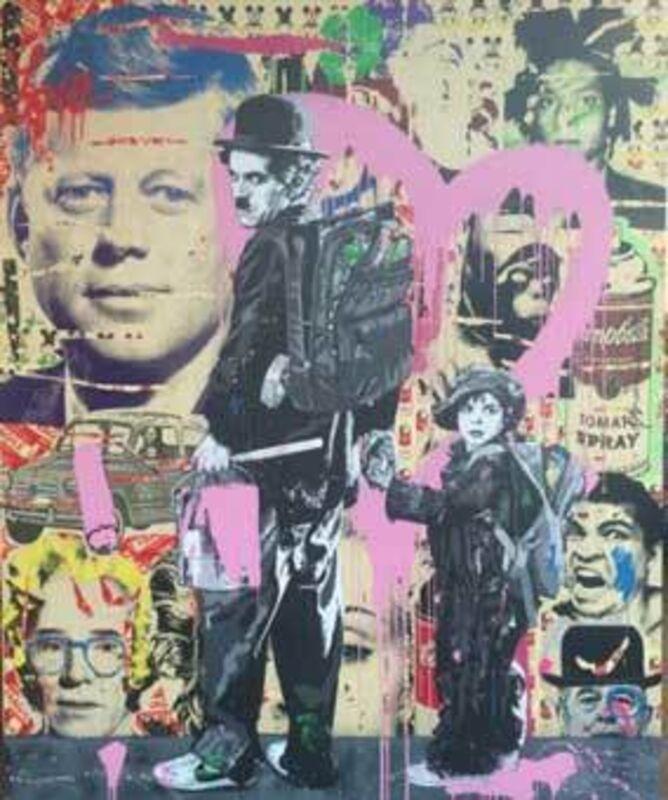 Mr. Brainwash, 'Charlie Chaplin and Kid', 2011, Painting, Mixed media on canvas, Eternity Gallery