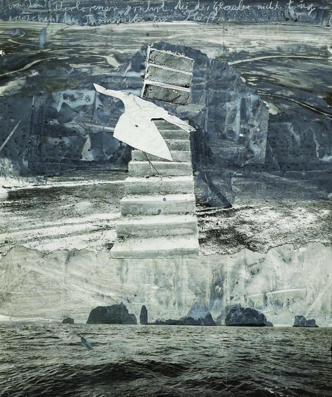 Anselm Kiefer, 'Von den verlorenen gerührt die der Glaube nicht trug erwachen die Trommeln im Fluß', 2005, Painting, Gouache and charcoal on photographic paper collage, Pera Museum