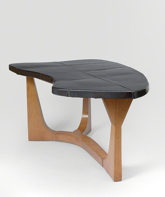 Georges Jouve and Janette Laverrière, 'Dining table', 1953, Design/Decorative Art, Oak and black enameled ceramic, Galerie Jacques Lacoste