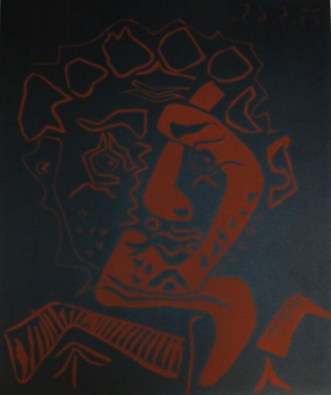 Pablo Picasso, 'Head Actor - The Dancer (Tete D'Histrion- Le Danseur)', 1965, Print, Linoleum cut printed in black and red, Baterbys