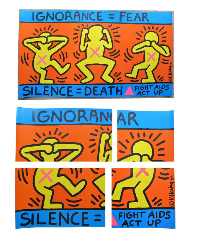 """Keith Haring, '""""Ignorance = Fear = Silence = Death/ Fight Aids Act Up"""", Poster, Lithograph, AIDS Coalition to Unleash Power (ACT UP), 24 x 43 in. NEAR MINT CONDITION !!!!', 1989, Ephemera or Merchandise, Lithograph on paper, VINCE fine arts/ephemera"""