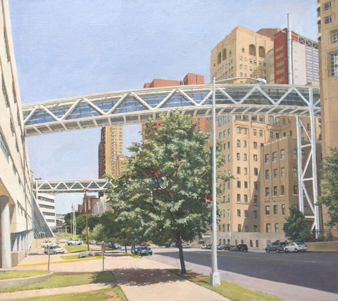Rackstraw Downes, 'Columbia Presbyterian: Two Pedestrian Bridges Crossing Riverside Drive', 2013