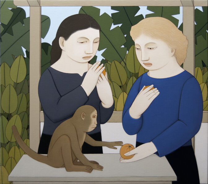 Andrew Stevovich, 'Two Women Feeding a Monkey', 2018