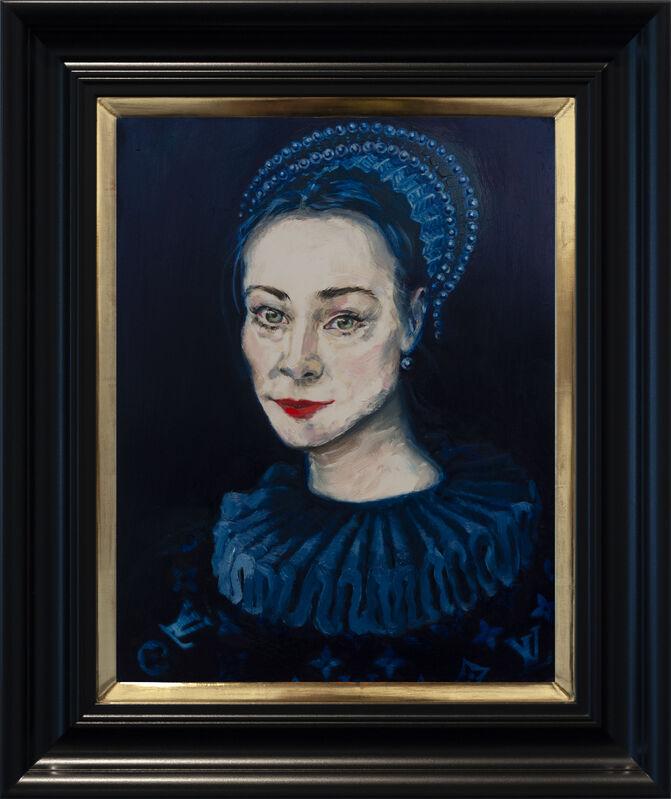 Dee Smart, 'Liechen in Blue', 2019, Painting, Oil on board, water gilded frame, Nanda\Hobbs