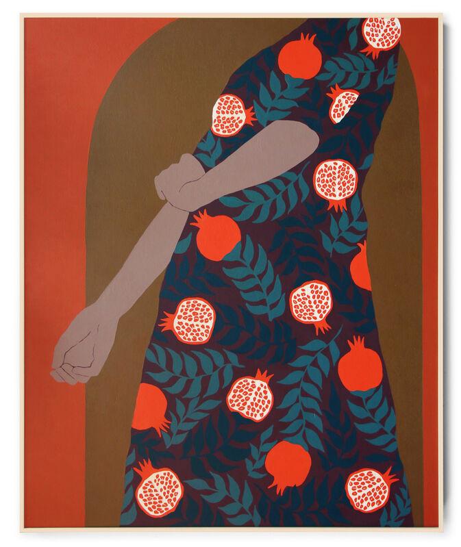 Carmen McNall, 'Pomegranates 2', 2021, Painting, Acrylic on hand carved wood panel., Uprise Art