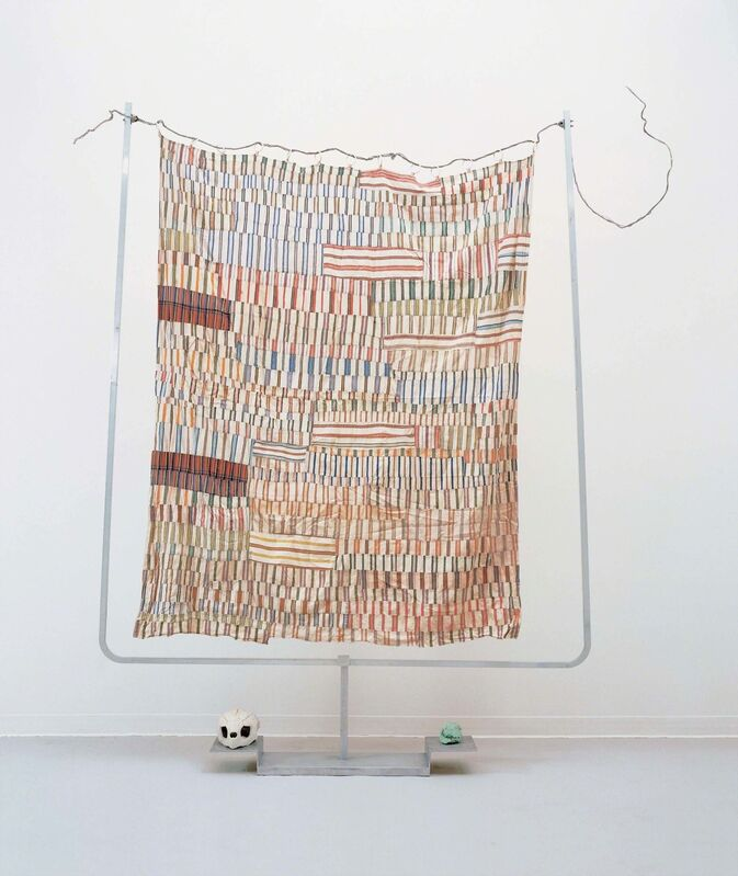 Robert Rauschenberg, 'Rainbow Harp / ROCI TIBET', 1985, Fabric, metal rings, and wire on aluminum stand with animal skull and turquoise, Robert Rauschenberg Foundation