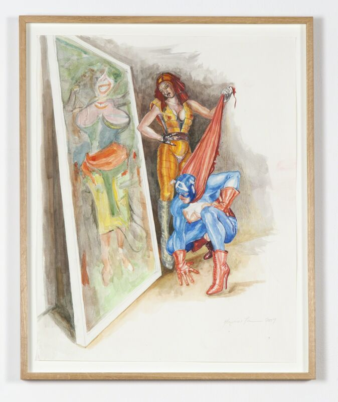 Margaret Harrison, 'What's That Long Red Limp Wrinkly Thing You're Pulling On?', 2009, Drawing, Collage or other Work on Paper, Colored pencil and watercolor, Ronald Feldman Gallery