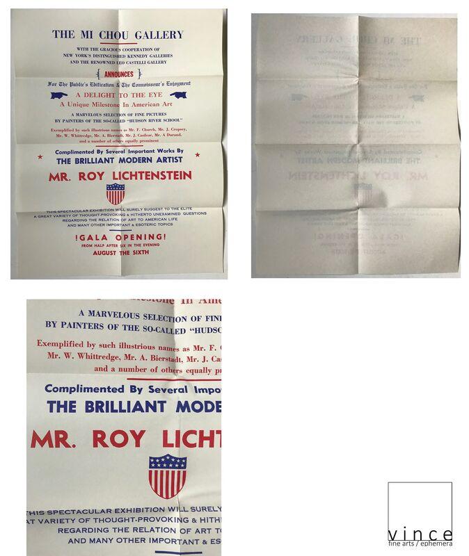 """Roy Lichtenstein, '""""Mr. Roy Lichtenstein"""", Exhibition Invitation/ Poster,  Mi Chou Art Gallery NYC / Kennedy Gallery NYC / Leo Castelli Gallery NYC, MUSEUM QUALITY, RARE', 1949, Ephemera or Merchandise, Lithograph on paper, VINCE fine arts/ephemera"""