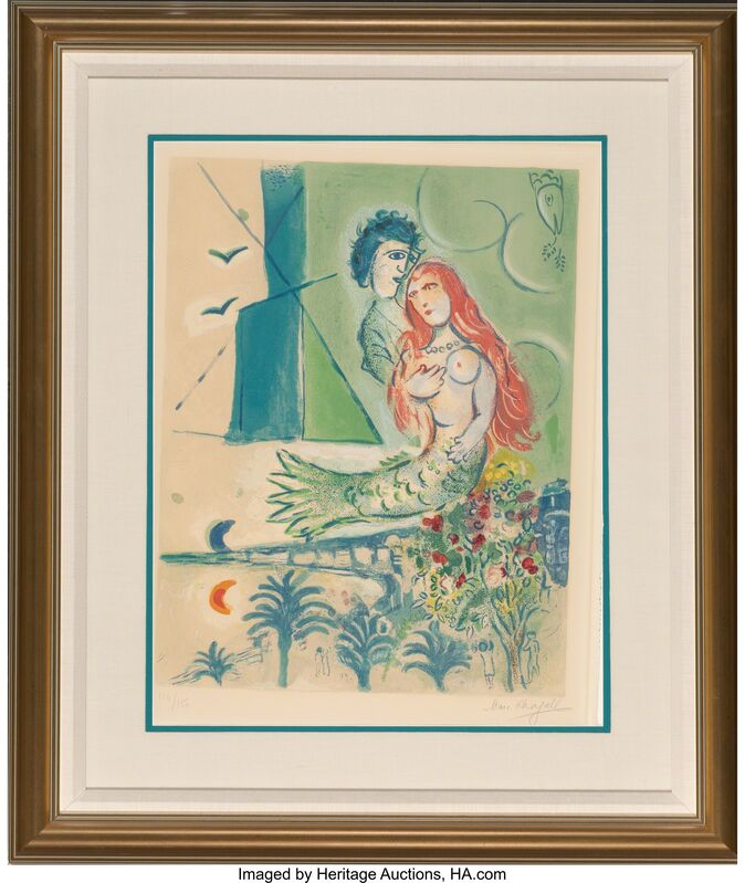 Marc Chagall, 'Sirène au Poète', 1967, Print, Lithograph in colors on Arches paper, Heritage Auctions