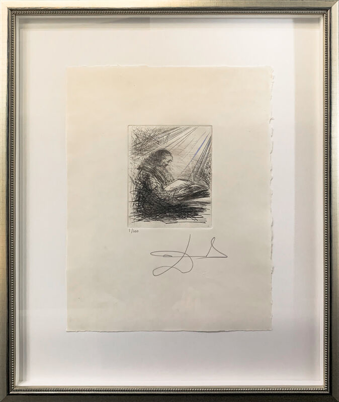 Salvador Dalí, 'Faust Reading', 1968-1969, Drawing, Collage or other Work on Paper, Original etching with roulette on Japon, Art Leaders Gallery