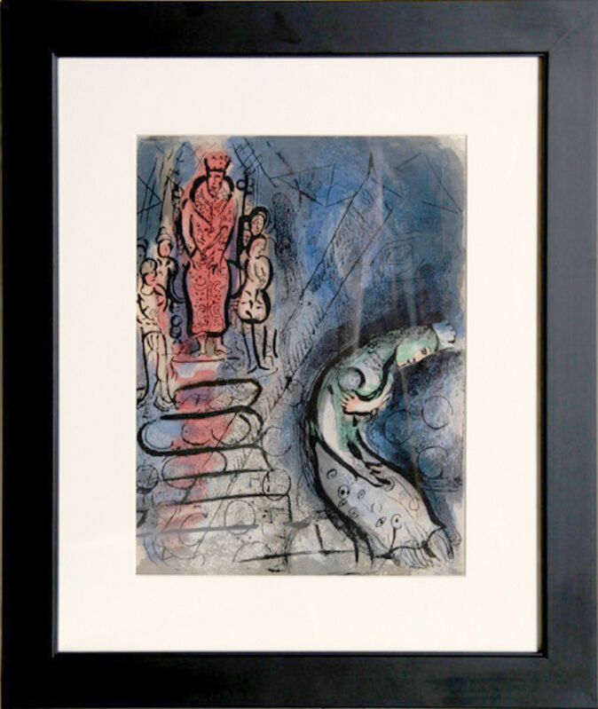 """Marc Chagall, 'Ahasuerus sends Vashti Away from """"Drawings for the Bible""""', circa 1960, Print, Lithograph, RoGallery"""