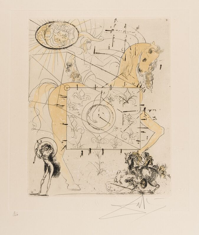 Salvador Dalí, 'Cheval Royal (M & L 429d)', 1970, Print, Etching with aquatint and extensive hand-colouring in blue and yellow, Forum Auctions