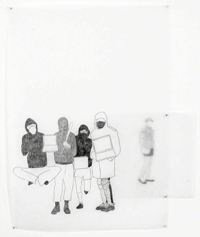 Massinissa Selmani, 'Les Métamorphes #1', 2012-2015, Drawing, Collage or other Work on Paper, Pencil on tracing paper, Officine dell'Immagine