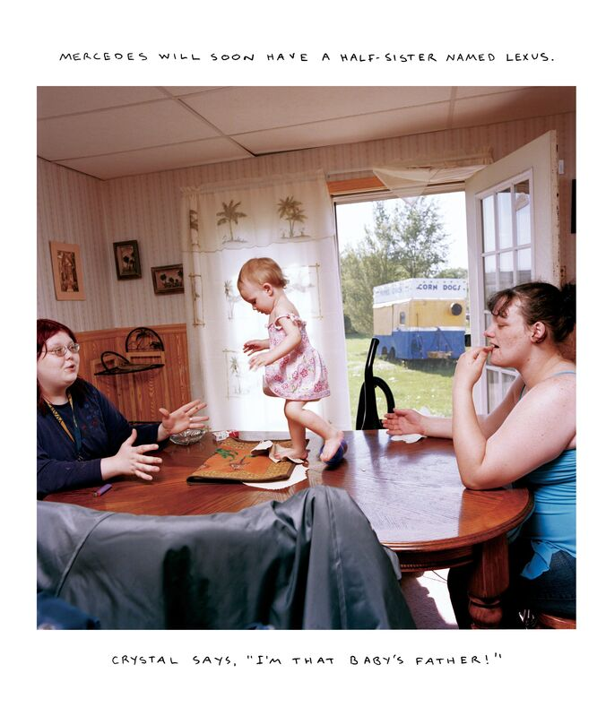 """Chris Verene, 'MERCEDES WILL SOON HAVE A HALF-SISTER NAMED LEXUS. CRYSTAL SAYS, """"I'M THAT BABY'S FATHER!""""', 2005, Photography, Chromogenic print with handwritten caption in oil, Postmasters Gallery"""