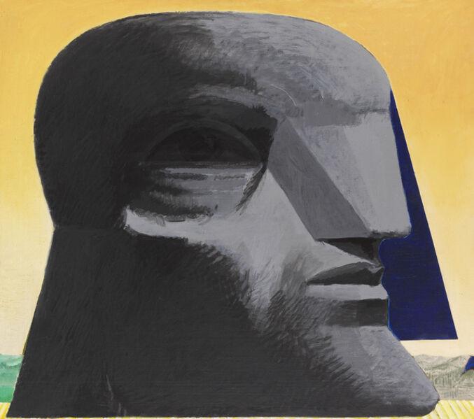 Horst Antes, 'Großer grauer kopf mit blauer florentiner Kappe', 1978-1979