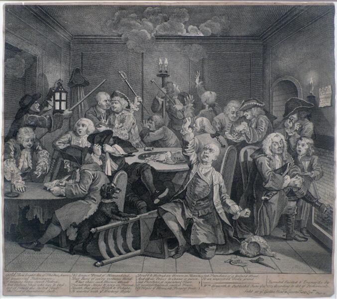 William Hogarth, 'A Rake's Progress, Plate 6: Scene in a Gaming House', 1735